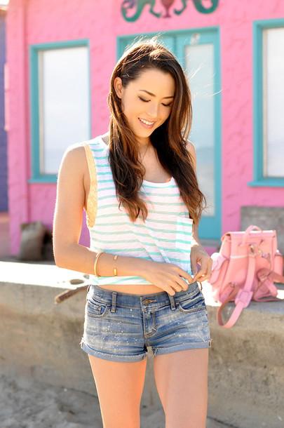 hapa time blogger tank top shorts striped top summer top denim shorts