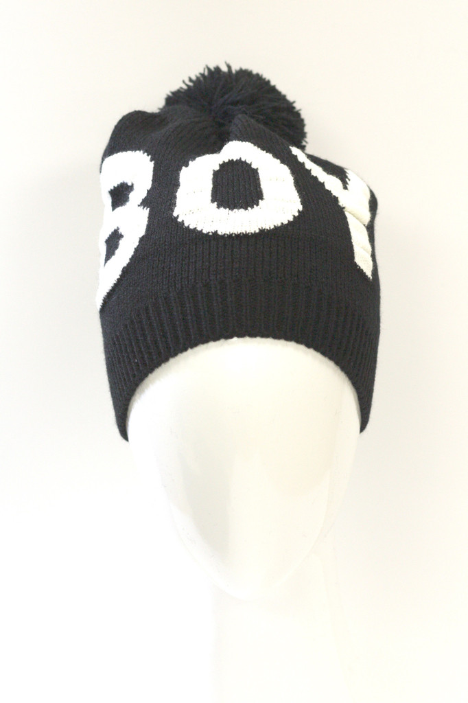 BOY Pom Pom Knit Beanie-White