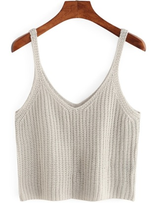 top grey crop tops crop cropped knit knitted top sleeveless