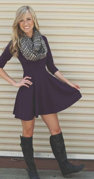 Dress Scarf Purple Dress Cute Dress Black Dress Long Sleeve