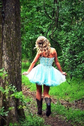 dress blue turquoise prom dress sexy country cowgirl boots jewels corset short dress short prom dress prom beautiful silk jeweled dress corset dress