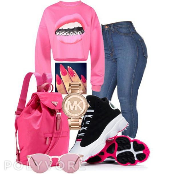 prada tote bag - Bag: prada, michael kors watch, air jordans pink white shoes swag ...