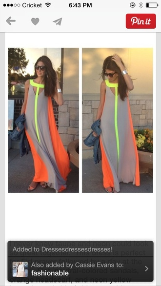 dress orange neon yellow beige dress max color chiffon
