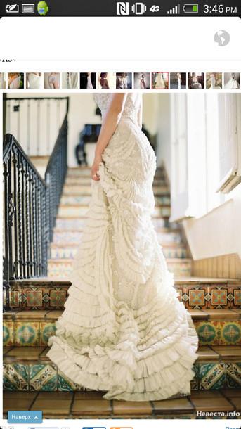 dress, wedding clothes, wedding dress, vintage wedding dress, ruffle ...