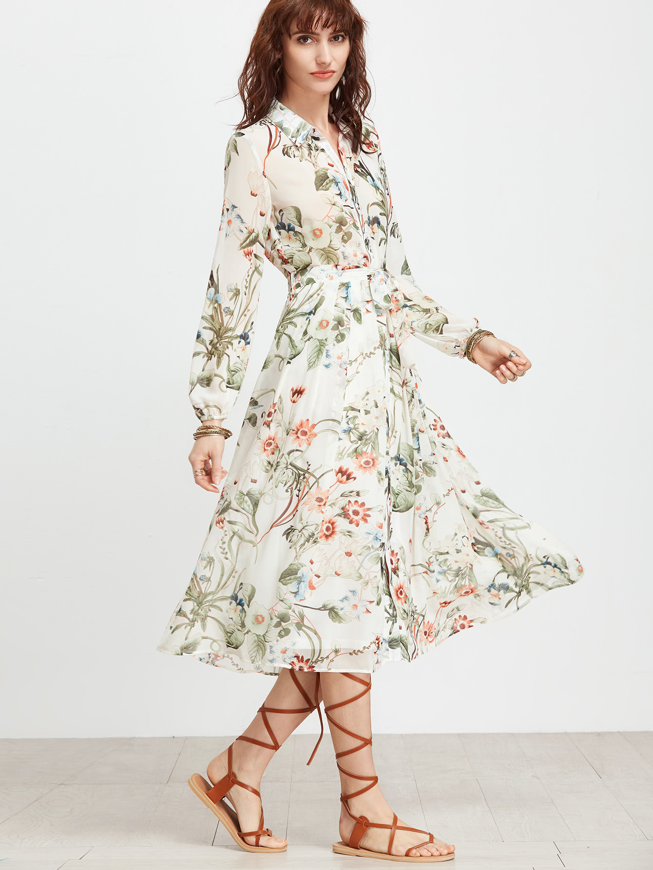 a7f0c1df5f Calico Print Shirt Dress With Self Tie -SheIn(Sheinside)