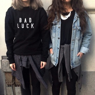 sweater bad luck swet black white black and white warm trendy grunge cute love 2016 oversized warm sweater