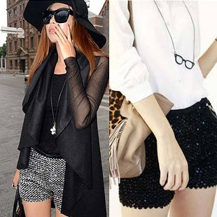 2013 summer fashion womens sequins high waist shorts ladies paillette hot pants slim woman black sliver golden short shorts-inShorts from Apparel & Accessories on Aliexpress.com