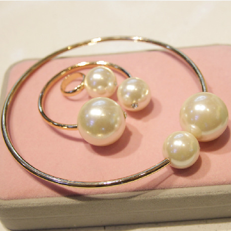 Big pearl collar Necklace Ring Bracelet Show Big Brand Necklace set fashion Pearl pendant statement necklace New in 2014 Fashion-in Jewelry Sets from Jewelry on Aliexpress.com