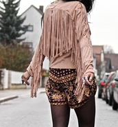 jacket,nude,beige,fringes,fashion,boho,gypsy,style,long sleeves,suede fringe jacket