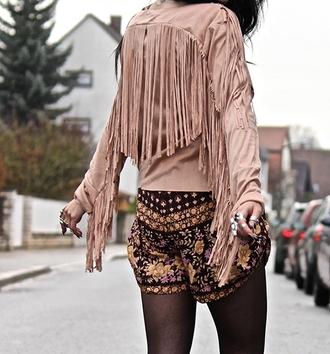 jacket nude beige fringes fashion boho gypsy style long sleeves suede fringe jacket