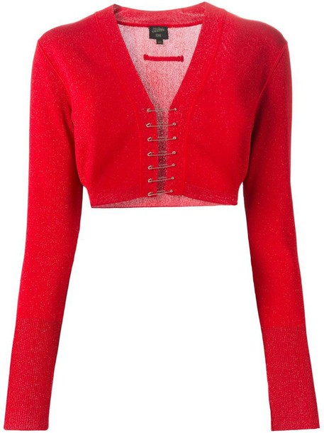 Jean Paul Gaultier Vintage cardigan cardigan cropped red sweater - Jean Paul Gaultier Vintage Cropped Cardigan In Red - Wheretoget