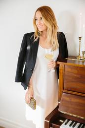 lauren conrad,blogger,white dress,black blouse,clutch,dress,white,midi dress