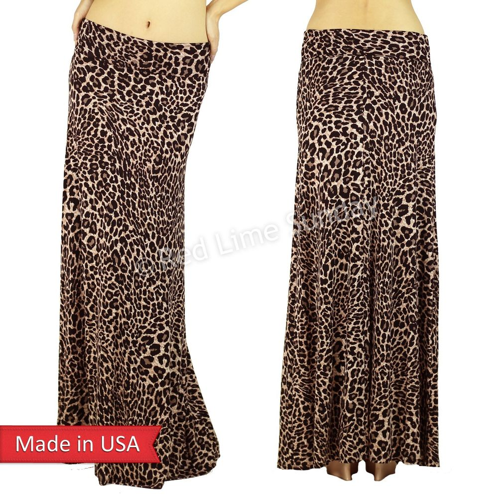 New Women Animal Print Leopard Fold Over Print Long Maxi Skirt Regular Plus USA