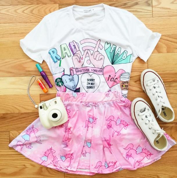skirt pink skirt unicorn emoji pants cute skirt skater skirt shirt