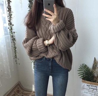 blouse brown woll cozy