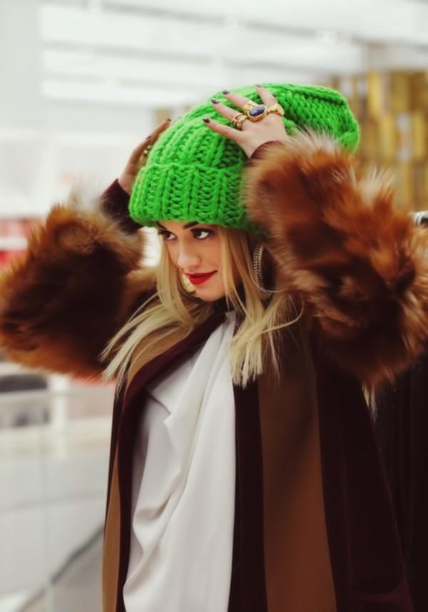 knitted beanie green rita ora hat