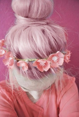 sweater pastel hair hair/makeup inspo jewels headband hippie hippie headband flower crown hair flowers flower hair