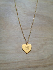 jewels,off,heart,chain,jewelry,necklace,gold,cute,fuck you necklace,fuck off,tumblr,heart jewelry,gold necklace,girly,style,small