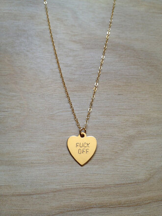 jewels off heart chain jewelry necklace gold cute fuck you necklace fuck off tumblr heart jewelry girly style small gold necklace