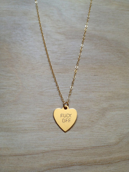 jewels heart necklace girly style golden small off chain gold cute fuck you necklace necklace, gold, heart, fuck off, chain tumblr, necklace, fuck off heart necklace fuck off