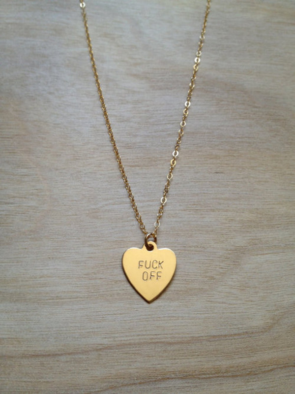 jewels off heart chain jewelry necklace gold cute jewelry fuck you necklace fuck off tumblr necklace heart jewelry gold necklace gold girly style small
