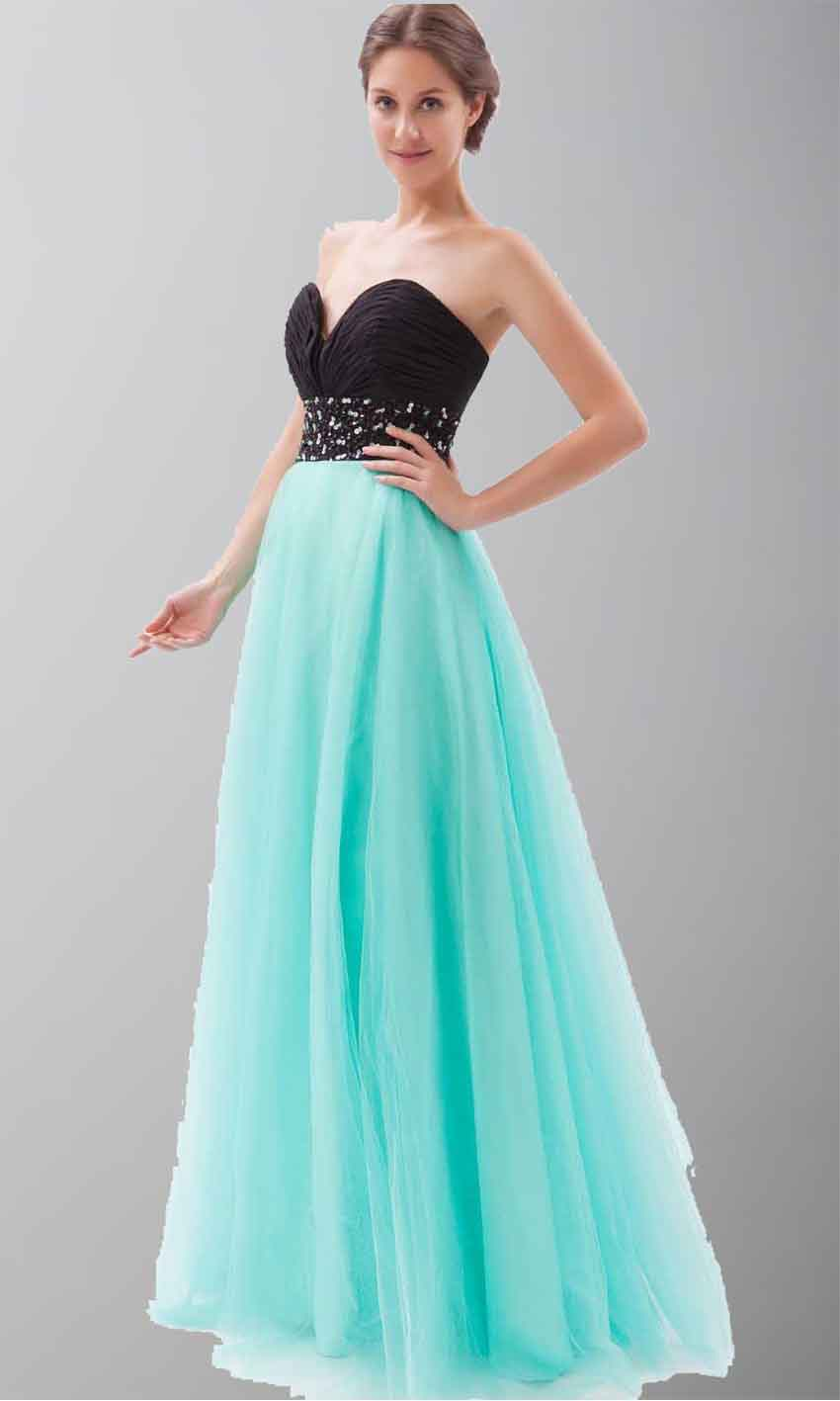 Black And Teal Soft Tulle Long Princess Prom Dresses KSP264 [KSP264 ...