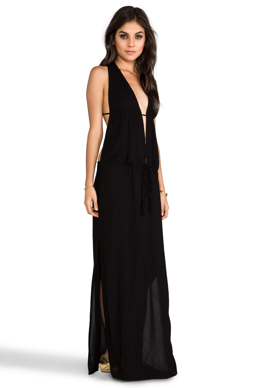 Dress Black Slit V Neck Maxi Lovly Sqaa Low Cut Summer Little Prom