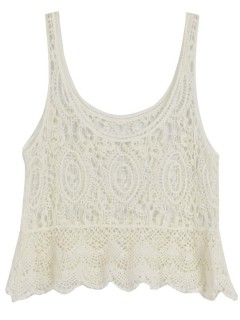 Crochet lace vest with wavy hem