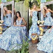 dress,sherri hill,fit and flare dress,blue dress,floral dress,strapless