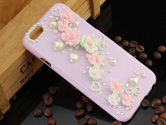 phone cover i phone iphone case cellphone case flowers purple pearl heart cute girly iphone 6 case
