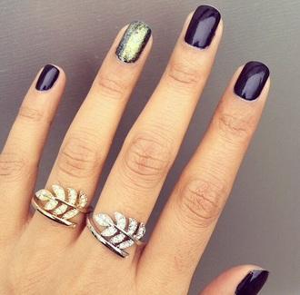 jewels ring leaf motif leaf print gold jewelry gold silver jewelry silver rings silver strass glitter glitters