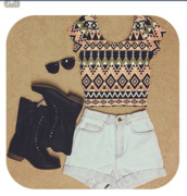 shirt,crop tops,indie,High waisted shorts,aztec,shorts,shoes,tank top,top,sunglasses,charlotte russe,tribal pattern,tribal cardigan,dreamcatcher,white shirt,white crop tops,black crop top,cropped sweater,style