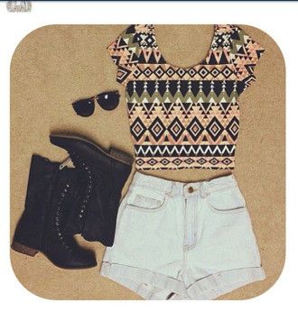 shirt crop tops indie high waisted shorts aztec shorts shoes tank top top sunglasses charlotte russe tribal pattern tribal cardigan dreamcatcher white shirt white crop tops black crop top cropped sweater style
