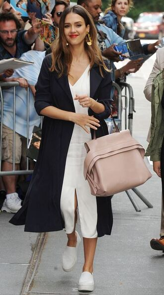 shoes sneakers midi dress spring outfits coat trench coat jessica alba streetstyle