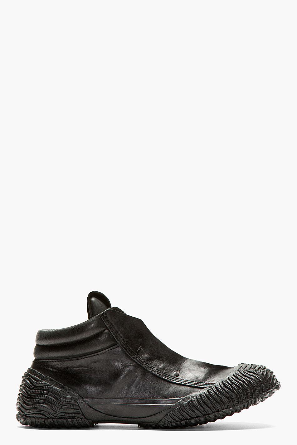 ma julius black leather wave tread sneakers