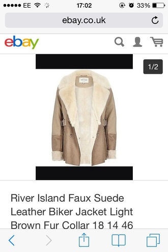 jacket river island tan suede faux fur biker jacket