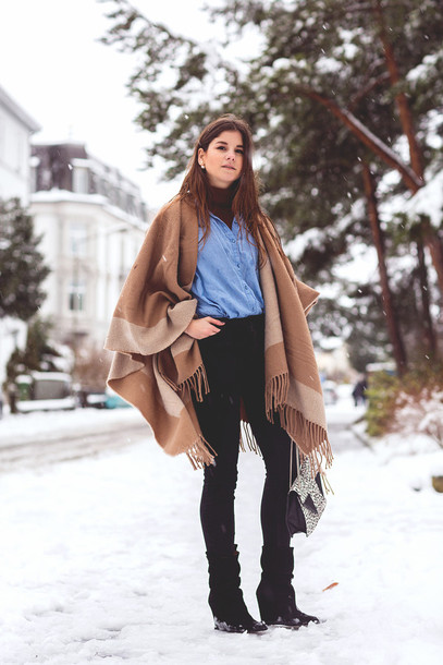 the fashion fraction blogger poncho blanket scarf camel denim shirt scarf