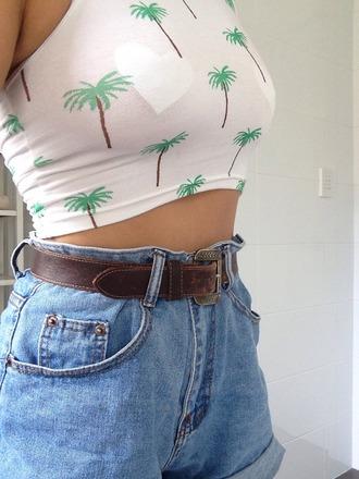 shorts high waisted shorts denim jean shorts hipster shorts blue shorts cute shorts. summer summer shorts top palm tree print crop tops white crop tops tumblr