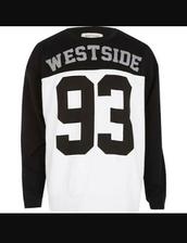top,west,westside 93,long sleeves,black and white,westside
