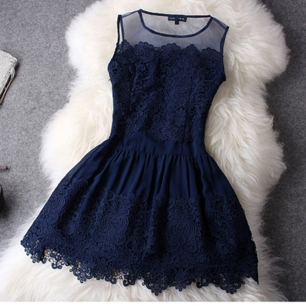 blue dress lace dress mini dress party dress dress navy lace dress navy flowers for short dress formal dress dark blue dress skater dress scoop neck where do i get this blue one piece lace navy dress back tumblr cute tumblr outfit cocktail dress blue lace dress homecoming dress