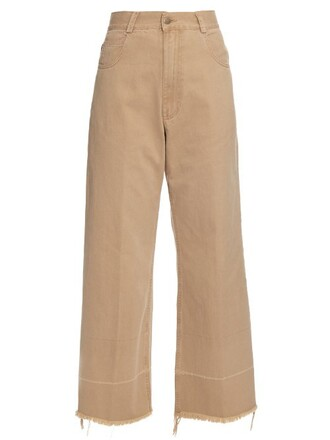cropped cotton beige pants