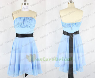 bridesmaid sky blue bridesmaid dress sky blue prom dress dress with sash wedding party dress short chiffon dress for prom /wedding party and foraml evening