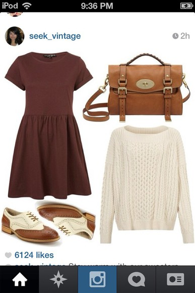 shoes sweater winter cute oxfords vintage hipster fall burgundy white adorable dress