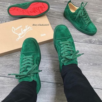 shoes sneakers green red suede