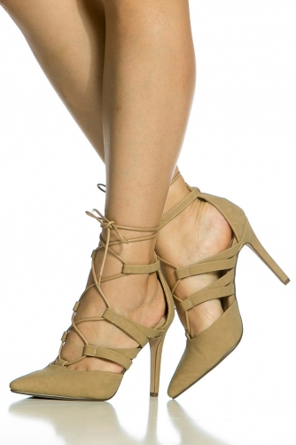 d9c8e21584 Taupe Faux Suede Wrap Around Lace Up Heels @ Cicihot Heel Shoes online  store sales:Stiletto Heel ...