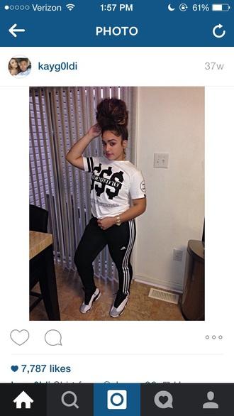 pants adidas addidas pants black air jordan jordans white shirt t-shirt shoes sneakers