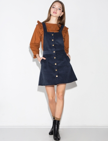 Blue Corduroy Overall Dress Corduroy Suspender Dress