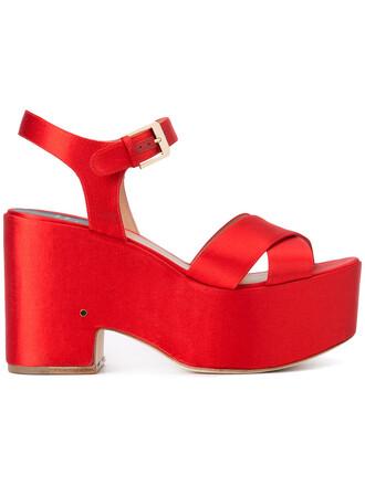 women sandals silk red shoes