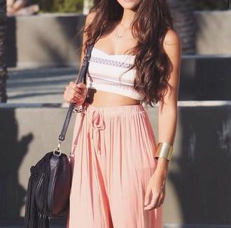 pants crop tops half top soft pink shirt blouse skirt top jewels bag peach beach pants lounge pants comfy