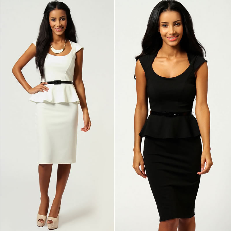 6 Colors 2013 New Fashion Women Black and White Knee Length Peplum Bodycon OL Office Lady Casual Dress with Belt 9052-in Dresses from Apparel & Accessories on Aliexpress.com